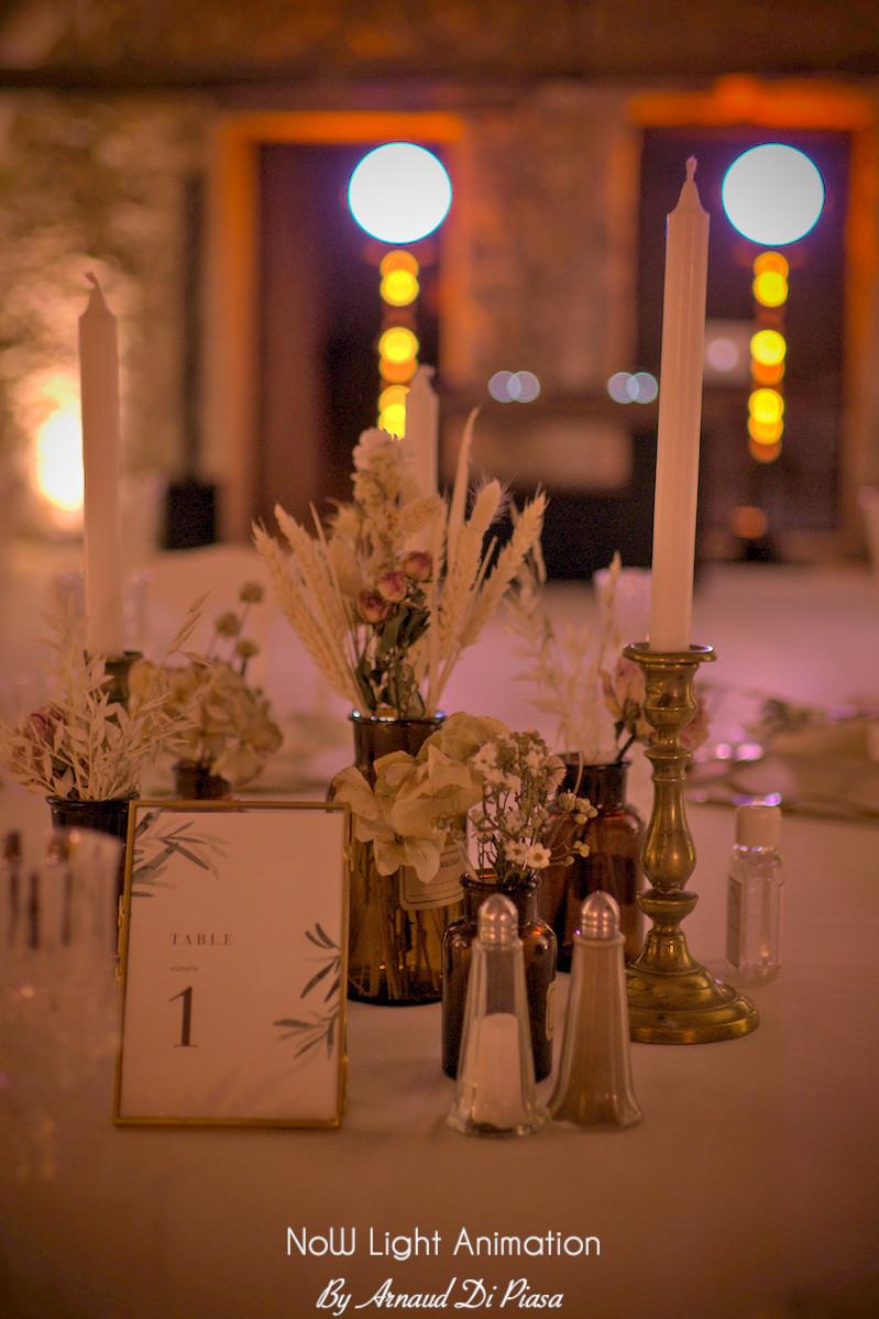 Décoration mariage, Moulin de la Recense, DJ, Mise en lumière, mariage thème, rétro, gatsby, vintage, années folles, champêtre, bohème chic,