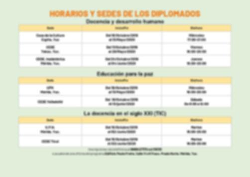 HORARIOS Y SEDES DE LOS DIPLOMADOS 2019.
