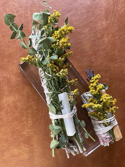 Floral + Herb Sage Bundle With Crystal