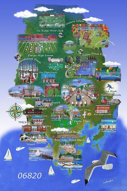 Framed Darien Map