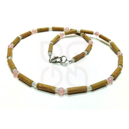 Collier en noisetier et quartz rose PUR NOISETIER