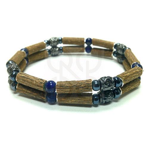 Bracelet double en noisetier et lapis lazuli PUR NOISETIER