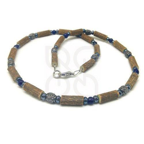 Collier en noisetier et lapis lazuli PUR NOISETIER