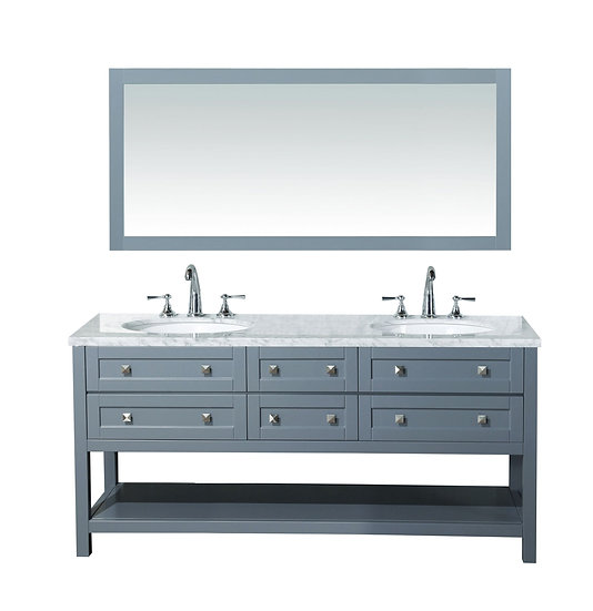 "Marla 72"" Double Sink Vanity with Mirror in Grey"