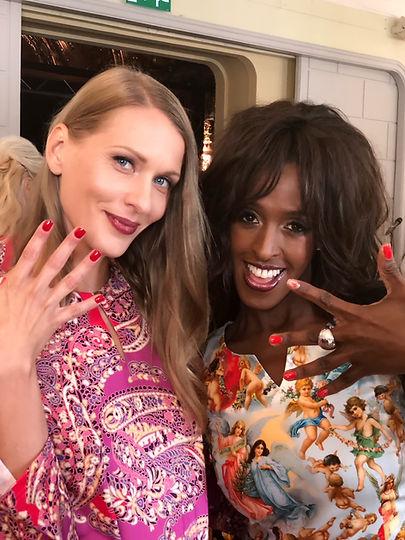 Camilla Thulins visning på Fashion Week i Stockholm. Vi lackade tre olika röda nyanser och en venussymbolpå varje modell. med