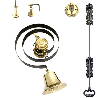 Prima Butlers Bell On Black Spring With Black Iron Pull,