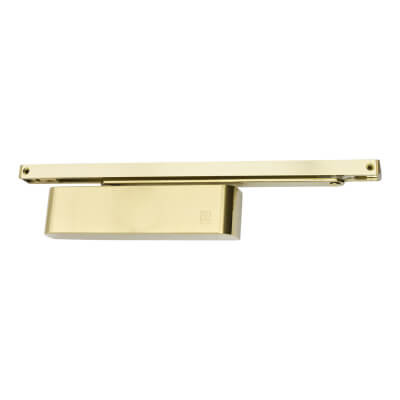 Rutland TS.11204 PVD Brass Slide Arm Cam Action Overhead Door Closer