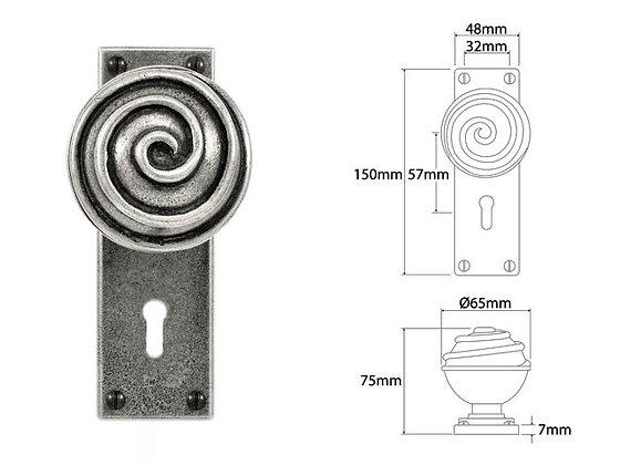 FD036 Swirl Pewter Mortice Door Knobs On Lock Backplates