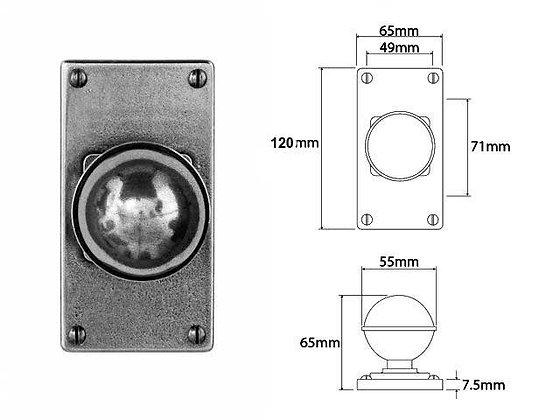 FD176 Pewter Short Latch Plate Mortice Door Knobs