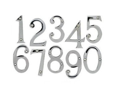 75MM POLISHED CHROME DOOR NUMERALS