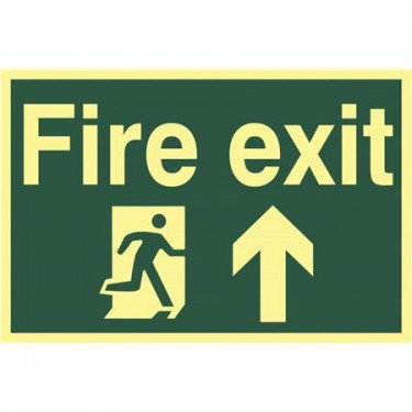 PHOTO LUMINESCENT FIRE EXIT SIGN WITH DIRECTIONAL ARROW AND RUNNING MAN