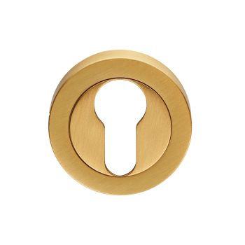 EUL001 Euro Profile Satin Brass Keyhole Escutcheon