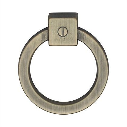M Marcus VF163 Distressed Brass Ring Pull Cabinet Handle