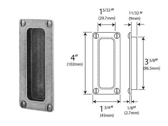 PDFP001 Genuine Pewter Pocket Door Flush Pull (front fix)