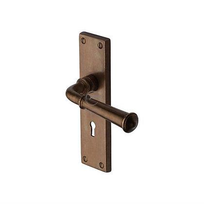 Heritage Brass RBL3700 Ashfield Solid Rustic Bronze Lock Door Handle