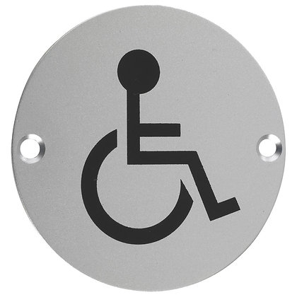 ZSS07 76mm DISABLED PICTOGRAM SATIN ST/STEEL