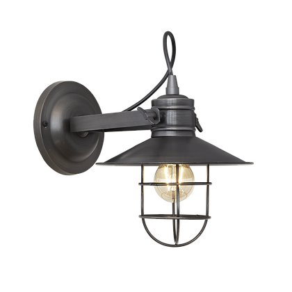 6 Inch Pewter Industrial Harbour Wall Light