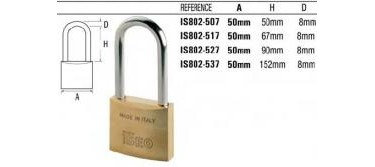 IS802-537 ISEO BRASS LONG SHACKLE PADLOCK