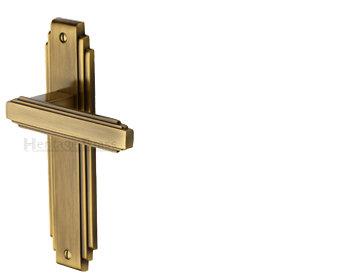 Heritage Brass 'Astoria' Art Deco Style Door Handles, Antique Brass