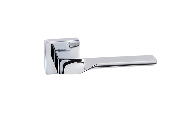 SP010CP SPINAL LEVER ON SQUARE ROSE - POLISHED CHROME