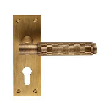 Varese EUL051Y Antique Brass Euro Lock Door Handles