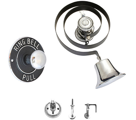 Prima Butlers Bell On Black Spring With Round Embossed Pull, Polished Chrome