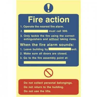 PHOTO LUMINESCENT FIRE ACTION NOTICE
