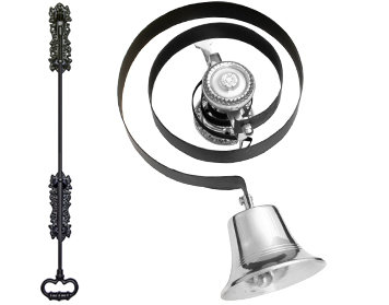 Prima Butlers Bell On Black Spring With Black Iron Pull, Polished Chrome