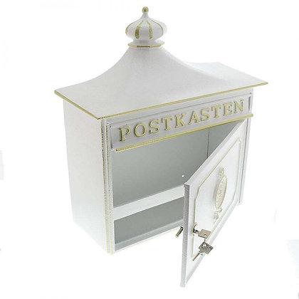 BURG WACHTER Bordeaux Cast Aluminium Post Box -White
