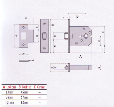 IMPERIAL LOCKS G4052 SMALL CASE MORTICE ROLLERBOLT LATCH