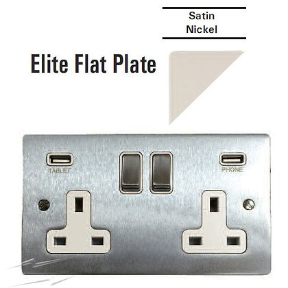 Flat Plate 13A 2 Gang Switched Socket With Dual USB Charger
