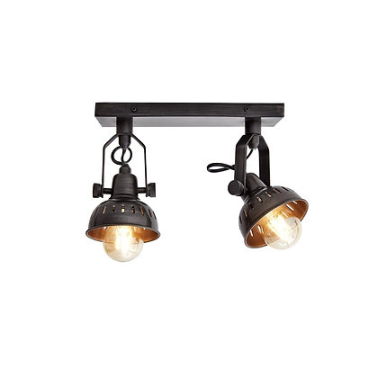 Industville Pewter Swivel Spotlight Double