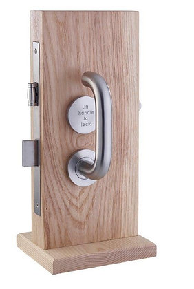 LIFT TO LOCK DISABLED TOILET DOOR MORTICE FACILITY SET