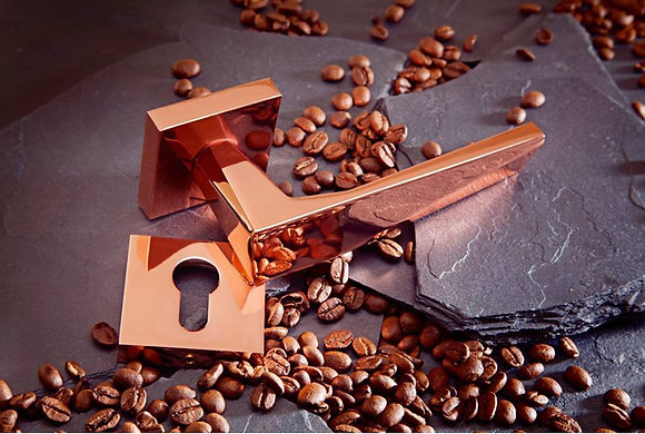 GENOA ROSE GOLD LEVER DOOR HANDLES ON SQUARE ROSE