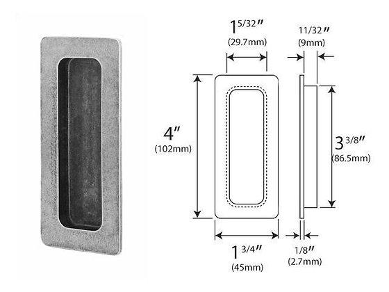PDFP002 Genuine Pewter Pocket Door Flush Pull (glue fix)