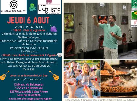 Le 6 Août Le Restaurant L'Oguste à Dieupentale s'invite au Domaine..et en musique !