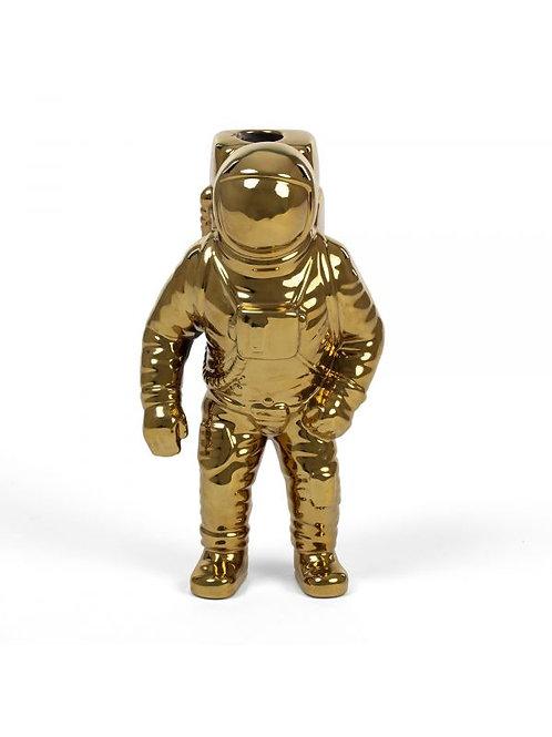 """Vaso in porcellana astronauta  """"COSMIC DINER STARMAN GOLD"""" SELETTI"""