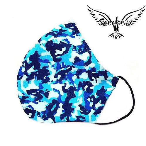 Mascarilla Diseño Camuflaje azulada