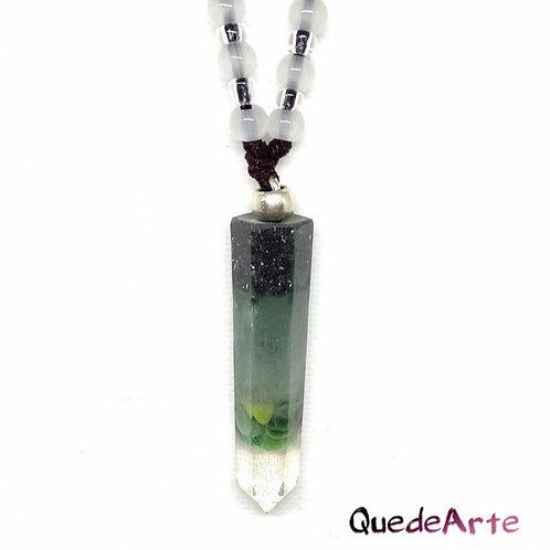 Colgante Energético Orgonita - Péndulo Verde Minerales