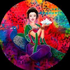 Muchacha Oriental flor loto