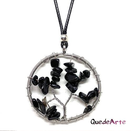 Colgante Arbol Vida Con Piedras Obsidianas