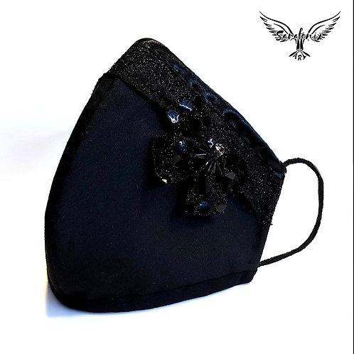 Mascarilla Diseño Negra Detalle Mariposa