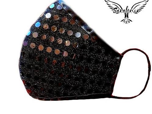 Mascarilla Diseño Lentejuelas Negra