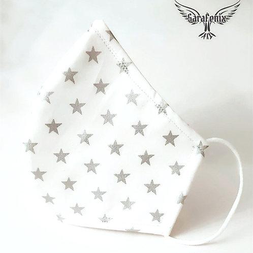 Mascarilla Diseño Estrellas plateadas