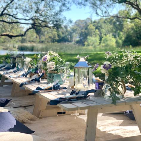 Blue Bohemia styled picnic