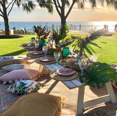 A custom tropical styled picnic