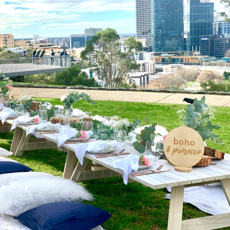 Urban Earth styled picnic with navy tones