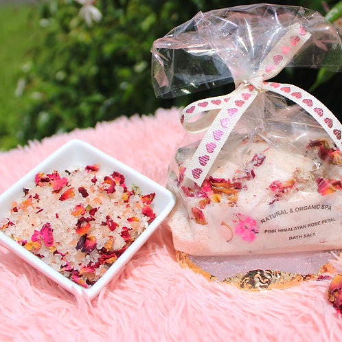 Pink Himalayan Rose Petal Bath Salt/Sal Rosada del Himalaya con Pétalos
