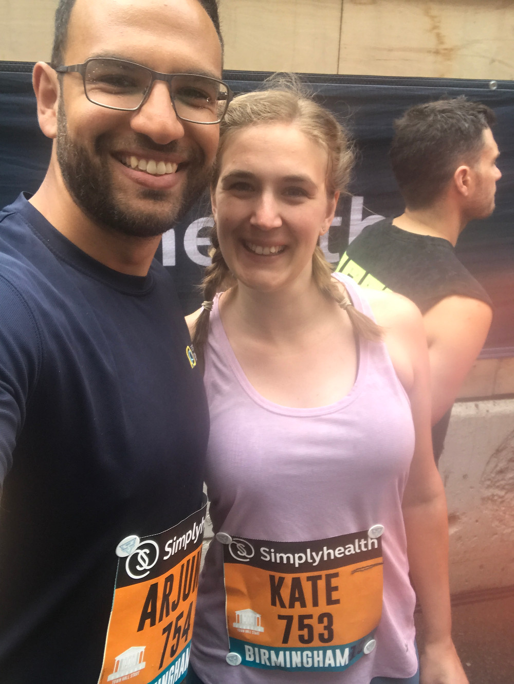 Arj and Kate on the start line of the Great Run Birmingham 10K