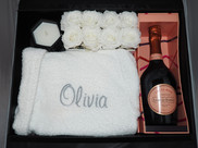 Personalised Gift Box With Bath Robe, Champagne, Preserved Roses and Candle